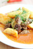 Meat sauce with potatoes Royalty Free Stock Images