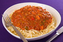 Meat sauce spaghetti pasta Royalty Free Stock Photo