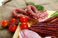 Meat and sausage royalty free stock photos