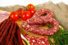 Meat and sausage royalty free stock photo