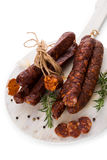 Meat sausage background. Stock Images
