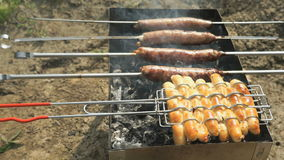 Meat sausage for barbecue for frying on the grill stock video footage