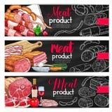 Meat sausage chalk sketch banner for bbq design Stock Image