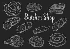 Meat and sausage chalk sketches on blackboard. Meat product sketches on chalkboard. Fresh beef steak, sausage, ham, pork bacon, salami, gammon, frankfurter and Stock Images