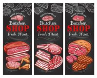 Meat and sausage chalkboard banner of buncher shop. Fresh meat product of butcher shop chalkboard banner set. Sausage, beef and pork brisket, ham, bacon and stock illustration