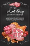Meat and sausage chalkboard banner of label design. Meat and sausage chalkboard banner for butcher shop label design. Fresh and cooked meat product chalk sketch Royalty Free Stock Photo