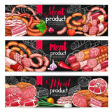 Meat and sausage menu blackboard banner set. Meat product menu blackboard banner set. Beef and pork sausage, ham, salami, bacon, frankfurter and pepperoni chalk Stock Photos