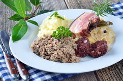 Meat and sausage platter Royalty Free Stock Images