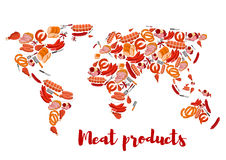 Meat and sausage products shaped as world map. Meat products forming world map. Chicken and pork ham, steak and sliced frankfurter sausage, wurst or kielbasa Stock Photography