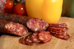 Meat sausage salami Stock Images