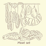 Meat sausage set. Meat sausage. hand drawing set of vector sketches Royalty Free Stock Photo