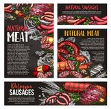 Meat, sausage and spice herb blackboard banner. Natural meat product blackboard banner set with fresh meat, sausage and spice herb. Beef and pork steak, bbq Stock Images