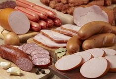 Meat and sausages Royalty Free Stock Photography