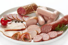 Meat and sausages Stock Images