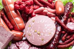 Meat and sausages. Stock Photography