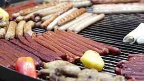 Meat and sausages  on barbecue. Turning Meat Grill - Grilled roast outdoors. Beef, chicken, sausages and kebab stock footage