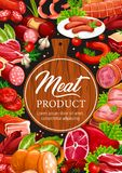 Meat and sausages butcher delicatessen products. Meat delicatessen and sausages, butcher shop or grocery. Vector beef jamon, curry wurst or cervelat and stock illustration
