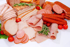 Meat and sausages. In a butcher shop pork fresh meal royalty free stock image