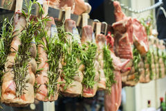 Meat and sausages in a butcher shop Stock Photos