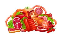 Meat, sausages and butchery delicatessen, vector. Meat and sausages, butchery farm products. Vector pork bacon, beef brisket or steak and mutton ribs with ham stock illustration