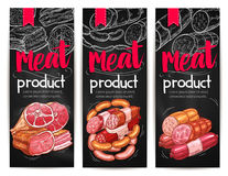 Meat and sausages chalkboard banner template Stock Image