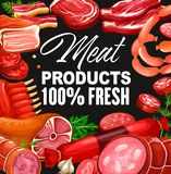 Meat sausages gourmet delicatessen, butcher shop. Butchery shop meat and grocery store gourmet sausages. Vector pork and beef meat products, salami or pepperoni vector illustration