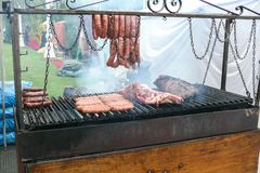 Meat and sausages grill Royalty Free Stock Photos