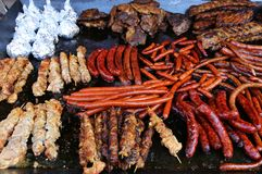 Meat and sausages grilled Stock Photos