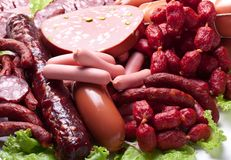 Meat and sausages. Royalty Free Stock Photo