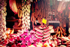 Meat and sausages in market Royalty Free Stock Photo