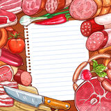 Meat and sausages with recipe or menu blank paper. Meat and sausages with recipe or menu paper on wooden background. Beef steak, pork sausage, salami, ham, bacon Royalty Free Stock Photos