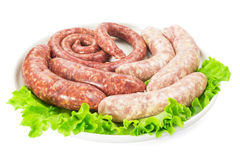 Meat sausages with salad Stock Images