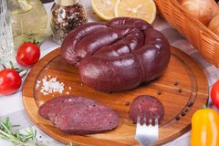 Meat and sausages Set of fresh and prepared meat. Beef, pork, salted lard and bologna and salami sausages Stock Photo