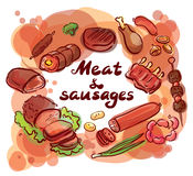 Meat and sausages set lettering Stock Image