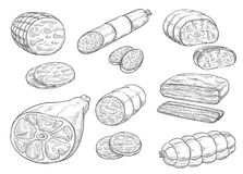 Vector sketch iocon of meat and sausage products. Meat and sausages sketch icons. Vector isolated meat delicatessen of curry wurst or salami and pepperoni Royalty Free Stock Image