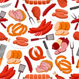 Meat and sausages vector seamless pattern Royalty Free Stock Image