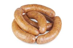 Meat and sausages on white backgroung.  Royalty Free Stock Photos