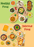 Meat, seafood dishes icon for healthy food design. Meat and seafood dishes icon with chicken vegetable stew, shrimp salad, seafood pasta, lasagna, grilled Royalty Free Stock Images