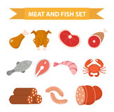 Meat and seafood icon set, flat style. Meat and fish set isolated on a white background. Meat and sausage, protein foods. Vector i Stock Photography
