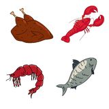 Meat and seafood, lobster, shrimp, fish and chicken. Dietary meat Stock Images