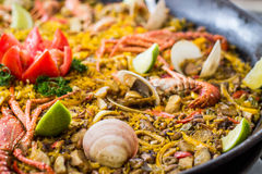 Meat and Seafood Paella Rice Stock Images