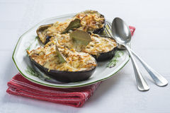 Meat and seafood stuffed eggplant Stock Image