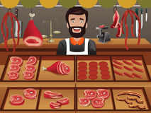 Meat seller in a farmer market stock illustration
