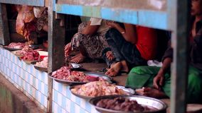 Meat sellers in India stock video