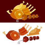 Meat set. Vector illustration of meat set Royalty Free Stock Photo