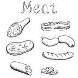 Meat set graphic art black white  illustration Royalty Free Stock Images