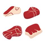 Meat set isolated on white background. Red mat set. Meat set isolated on white background. Red mat set of cartoon style Royalty Free Stock Photography