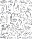 Meat set. Vector illustration of hand drawn meat elements set in line art mode Royalty Free Stock Photo