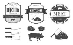 Meat set. Set of vintage meat labels Royalty Free Stock Photo