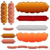 Meat Set  - Wurst, Liver, Salami, Ham, Chorizo and Sausage detailed  illustrations.  Stock Photos